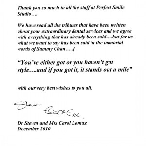 letter of appreciation - The perfect Smile